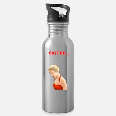 Upset Pop art retro pretty blond comic. Coffee lover. - Water Bottle