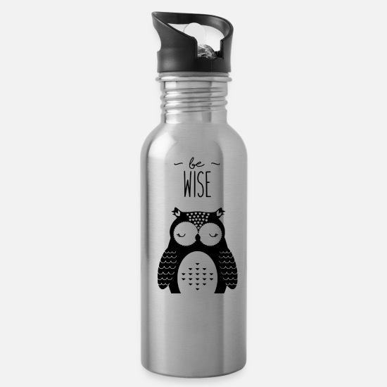 Birthday Mugs & Drinkware - be strong - owl - Water Bottle silver