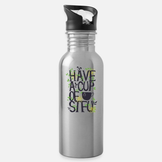 Stfu Mugs & Drinkware - Have A Cup Of STFU - Water Bottle silver