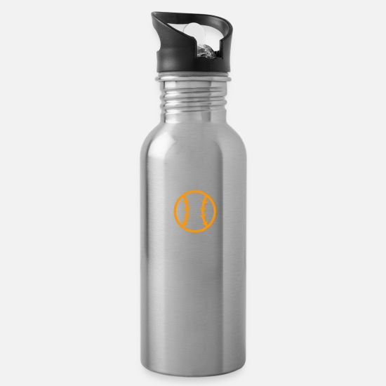 Softball Mugs & Drinkware - Life's A Pitch - Water Bottle silver