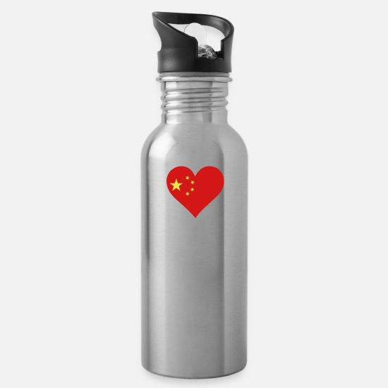 Mandarin Mugs & Drinkware - A Heart For China - Water Bottle silver