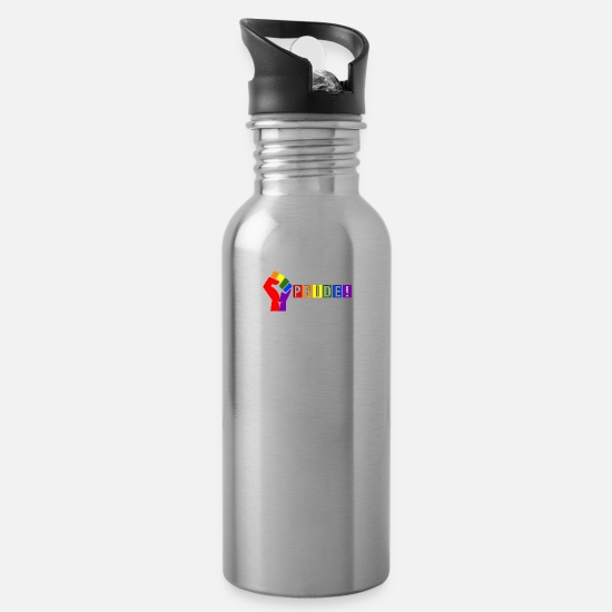Gay Pride Mugs & Drinkware - Power In Pride My Life - Water Bottle silver