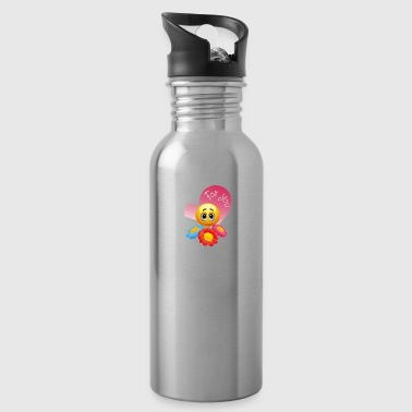 cute yellow face with flowers for you, but it - Water Bottle
