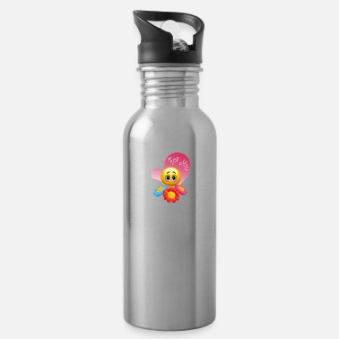 Yellow cute yellow face with flowers for you, but it - Water Bottle