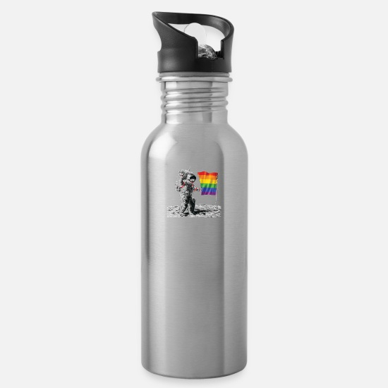 Gay Mugs & Drinkware - Gay Pride - Man Landing on Moon Rainbow Flag - Water Bottle silver