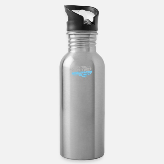 Game Mugs & Drinkware - May The Mass Times Acceleration Be With You - Water Bottle silver