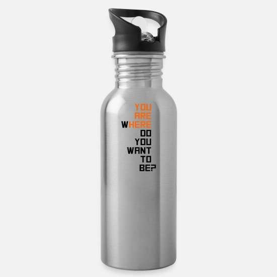 Motivation Mugs & Drinkware - motivational - Water Bottle silver