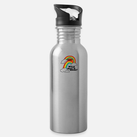 Geek Mugs & Drinkware - Double Rainbow - Water Bottle silver