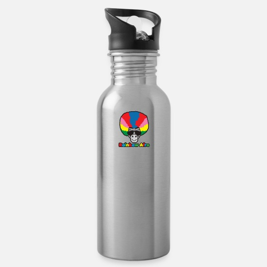 Rainbow Flag Mugs & Drinkware - Rainbow Afro - Water Bottle silver