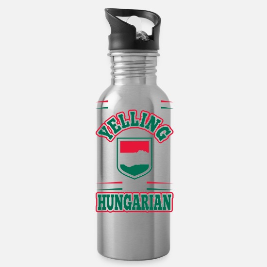 Funny Mugs & Drinkware - Im Not Yelling Im Hungarian - Water Bottle silver