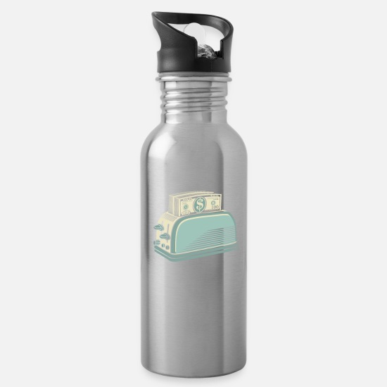 Moneygrubbing Mugs & Drinkware - Don t Burn Money...Toast - Water Bottle silver