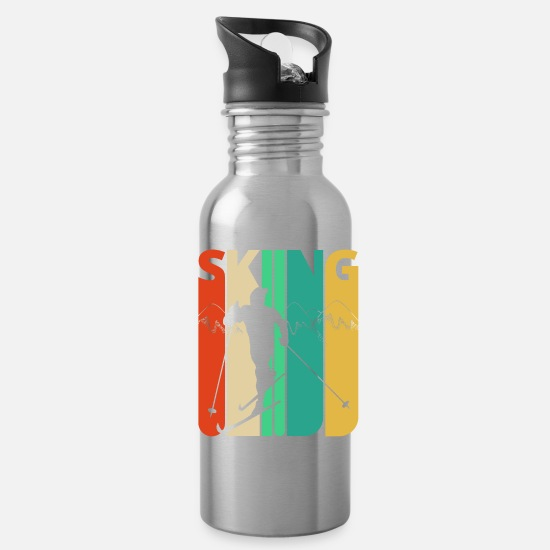 Retro Mugs & Drinkware - Awesome 70's Vintage Retro Skiing Gifts for Skiers - Water Bottle silver
