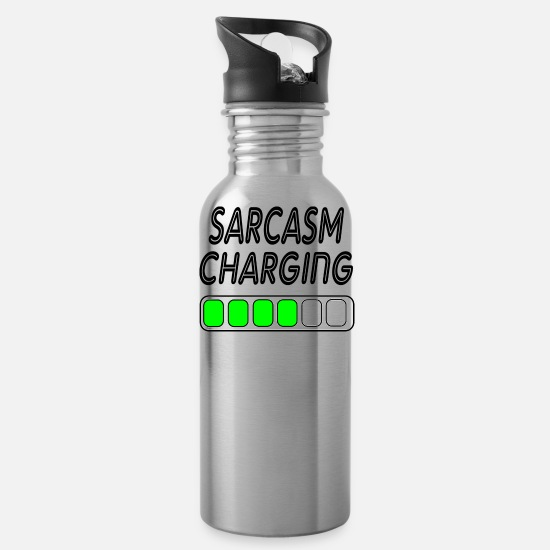 Charts Mugs & Drinkware - sarcasm charging - Water Bottle silver