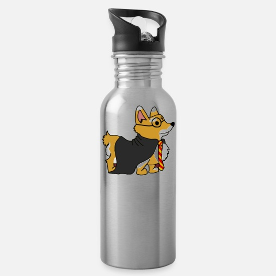 Corgis Mugs & Drinkware - Corgi Potter - Water Bottle silver