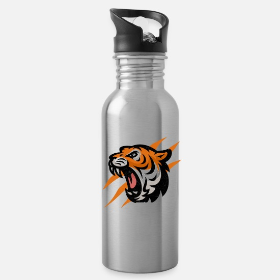 Tiger Mugs & Drinkware - Tiger - Water Bottle silver