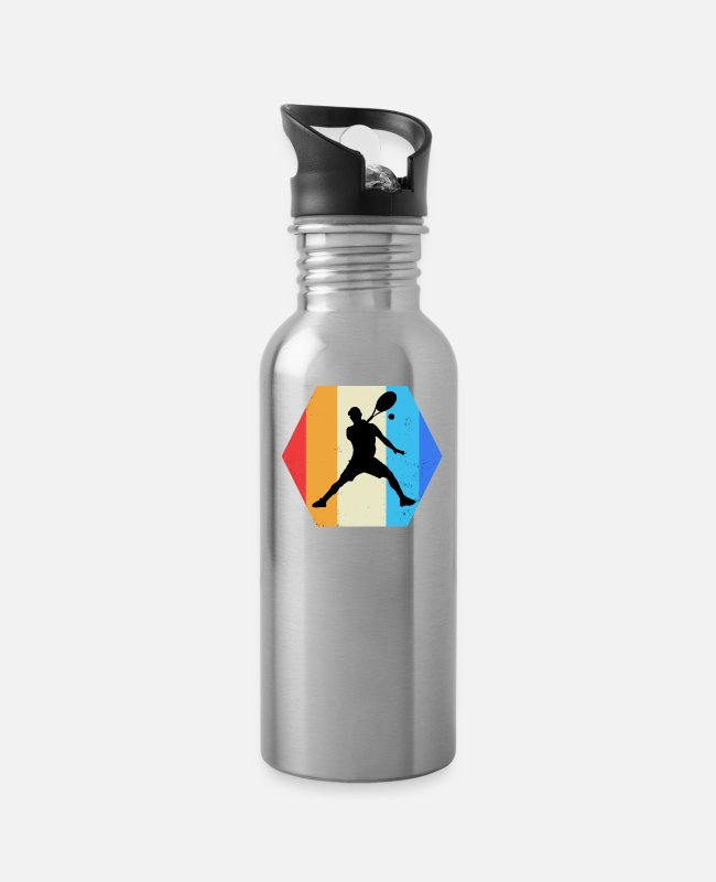 Tennis Mugs & Cups - Tennis with colored shape - Water Bottle silver