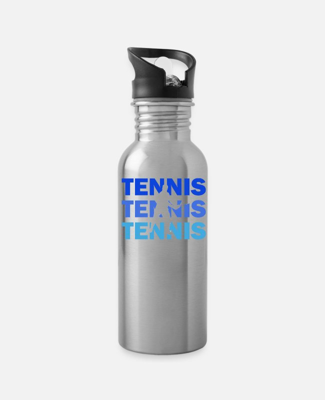 Tennis Mugs & Cups - Tennis with colored font - Water Bottle silver