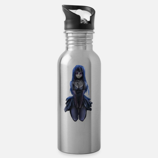 Gothic Mugs & Drinkware - Gothic AnimeGirl - Water Bottle silver