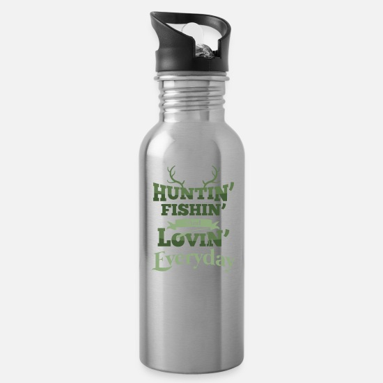 Camping Mugs & Drinkware - Funny Hunter Fishing Gift Deer Hunter Everyday - Water Bottle silver