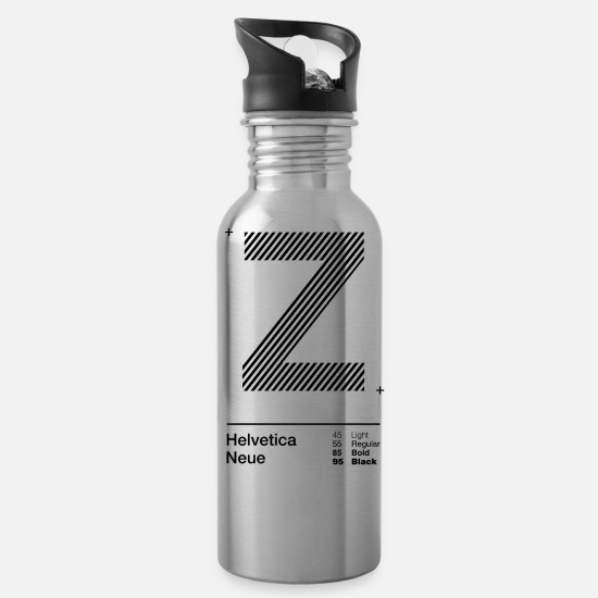 Typography Mugs & Drinkware - Z Strips - Water Bottle silver