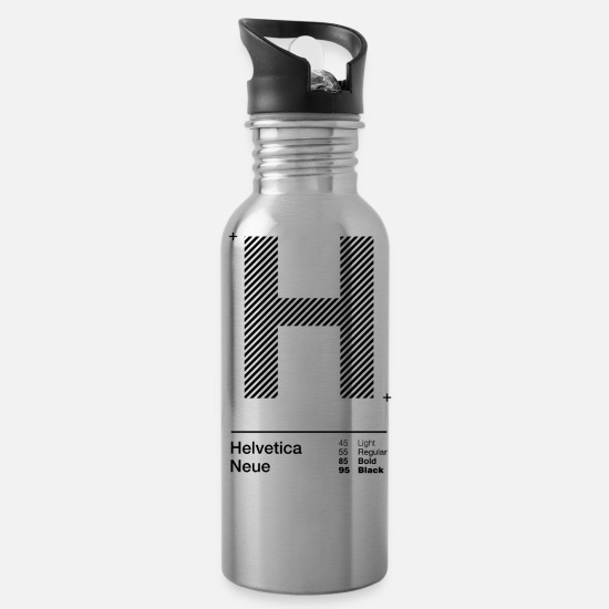 Typography Mugs & Drinkware - H Strips - Water Bottle silver