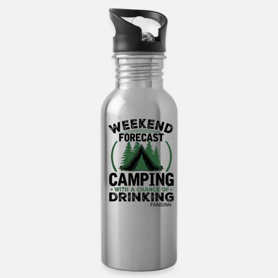 Tent Mugs & Drinkware - Camping tents recreation gift - Water Bottle silver