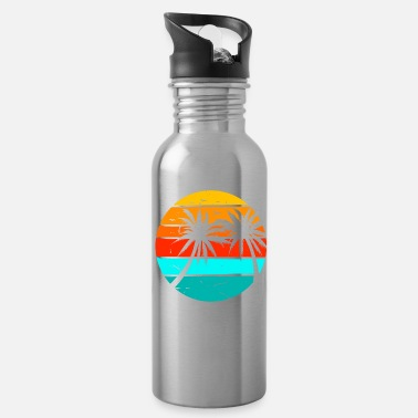 Tree Retro Holiday Destination Palm Trees Summer - Water Bottle