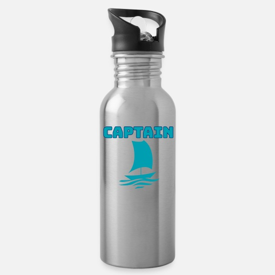 Gift Idea Mugs & Drinkware - Because I m the SAILING CAPTAIN Shirt gift for Men - Water Bottle silver