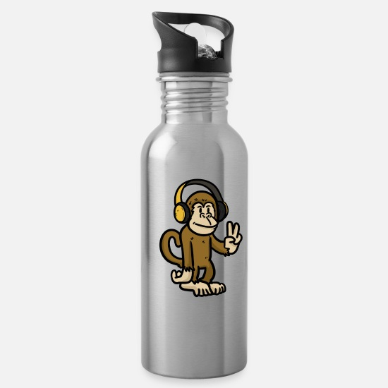 Monkey Mugs & Drinkware - Music Lover Monk - Water Bottle silver