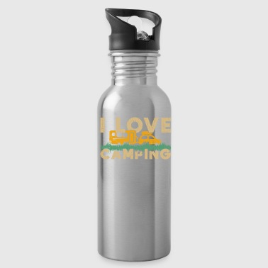 I Love Camping camper tent gift quote love - Water Bottle