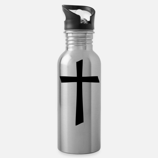 Symbol  Mugs & Drinkware - A Decorative Cross - Water Bottle silver