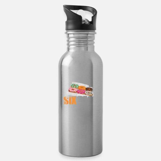 Check Mugs & Drinkware - Check Out My Six Pack Donut Food Foodie Bread Love - Water Bottle silver