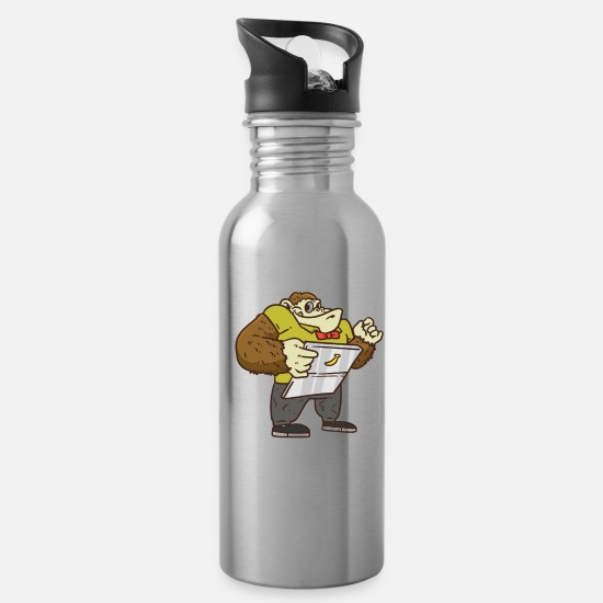 Hack Mugs & Drinkware - Chimpanzee Hacker - Water Bottle silver
