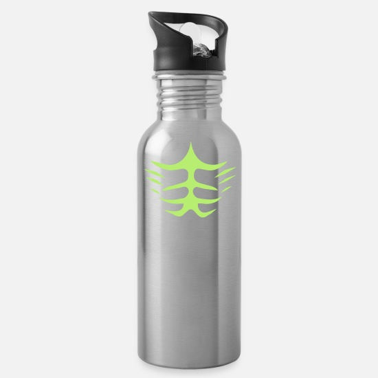 Fitness Mugs & Drinkware - fake abs - Water Bottle silver