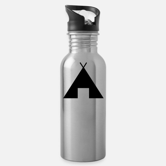 Tent Mugs & Drinkware - indian indianer american tent zelt teepee tomahawk - Water Bottle silver