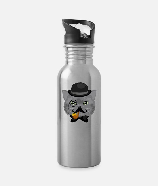 Calico Cat Mugs & Cups - Like A Sir Cat / Katze - Water Bottle silver