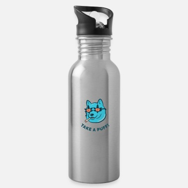 Smoking Life's rough - Take a puff! Cannabis dog stoned - Water Bottle