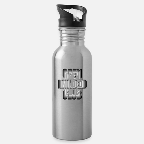 Think Mugs & Drinkware - open minded club - Water Bottle silver