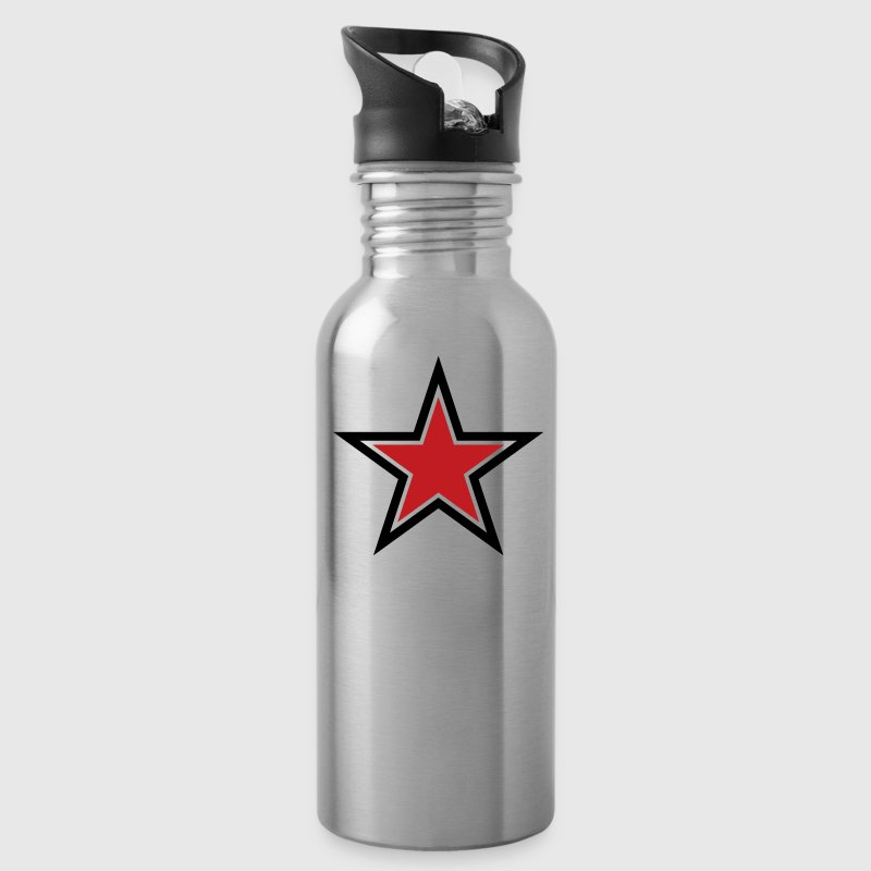 SHARP shape red and BLACK star outlined  - Water Bottle