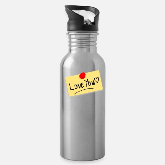 Love Mugs & Drinkware - note 34671 960 720 - Water Bottle silver