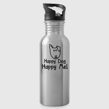 HAPPY DOG- HAPPY ME! with smiling puppy dog face - Water Bottle