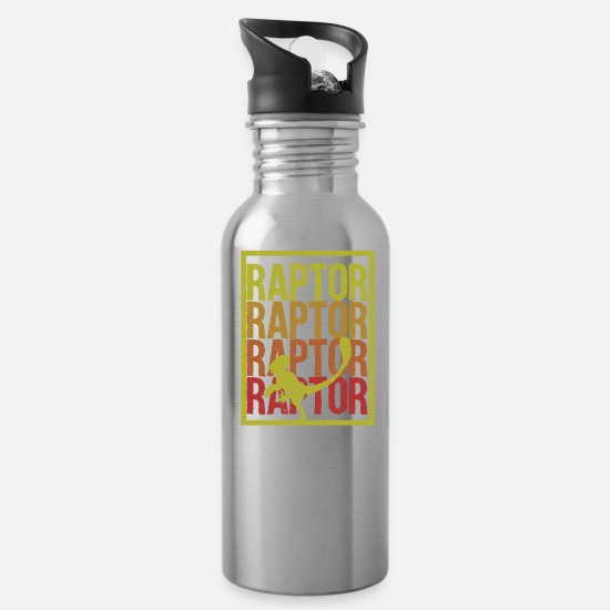 Carnivores Mugs & Drinkware - Raptor Dino gift idea - Water Bottle silver