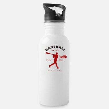 Fireball Whiskey Baseball - Hitting a Fireball - Hoboken NJ Est. 1849 - Water Bottle