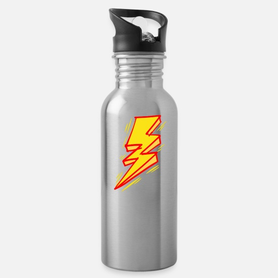 Lightning Mugs & Drinkware - Plain Lightening Bolt - Water Bottle silver