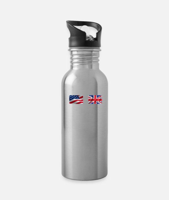 Nottingham Mugs & Cups - Half British Half American Totally Awesome - Water Bottle silver