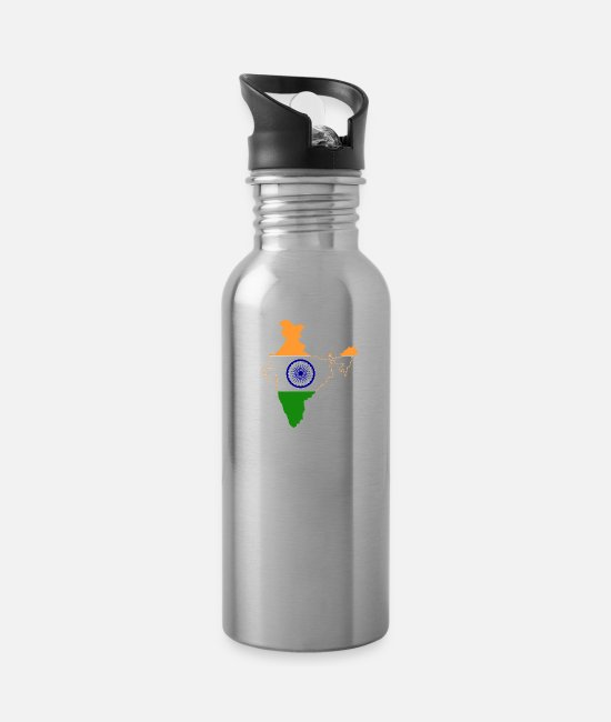 Ahmedabad Mugs & Cups - India Home Flag - Water Bottle silver