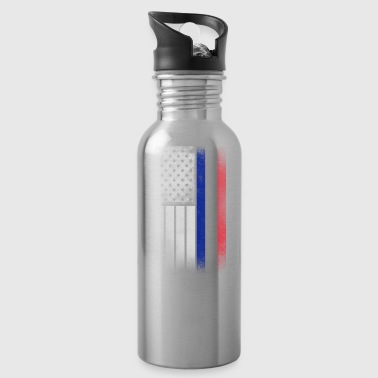 French American Flag - Half French Half American - Water Bottle