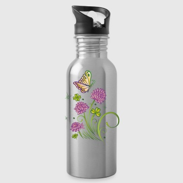 Summer meadow with clover and colorful butterfly. - Water Bottle