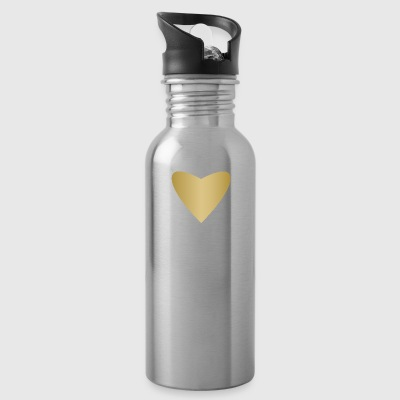 symbol of love golden heart heraldic sign art fun - Water Bottle