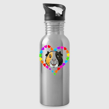 Rainbow Heart Guinea Pig Face - Water Bottle